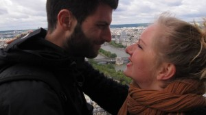 Christine and I, lots of love on the Eiffel Tower.