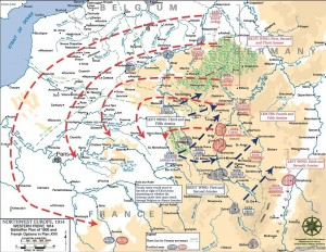 """Germany's """"Schlieffen Plan."""" At this point, Germany and France seemed to be fighting two completely different wars."""